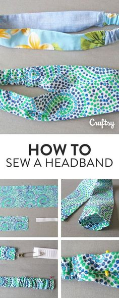 a Headband in 7 Simple Steps Learn how to sew a quick and easy headband with your leftover fabric scraps!Learn how to sew a quick and easy headband with your leftover fabric scraps! Easy Sewing Projects, Sewing Projects For Beginners, Sewing Hacks, Sewing Tutorials, Sewing Crafts, Sewing Tips, Sewing Ideas, Art Projects, Sewing Art