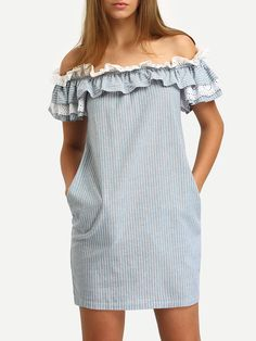 Shop Blue Off The Shoulder Flounce Striped Pockets Dress online. SheIn offers Blue Off The Shoulder Flounce Striped Pockets Dress & more to fit your fashionable needs. Casual Dresses, Short Sleeve Dresses, Mini Dresses, Dresses Dresses, Cheap Dresses, Party Dresses, Blue Dresses, Fashion Dresses, Women's Fashion