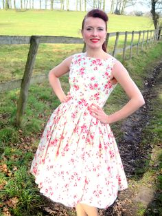 1950s style garden party dress in cream, red or green. £60.00, via Etsy.