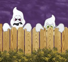 Action Peeking Ghosts Woodcraft Pattern Trick or treaters will squeal with delight as these goofy ghosts tirelessly pop up from behind your fence and try to scare them. Diy Halloween Fence, Halloween Wood Crafts, Halloween Yard Decorations, Halloween Signs, Halloween Projects, Holidays Halloween, Fall Crafts, Fence Decorations, Halloween 2020