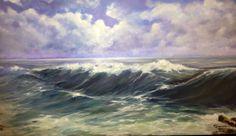 Marina embravecida. Pintura al óleo.