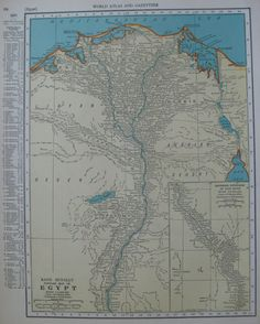 1937 Vintage EGYPT Map 1930s Antique Map ORIGINAL Beautiful Plaindealing 1527 on Etsy, $9.95