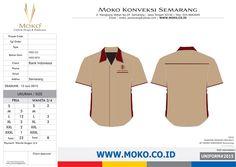 Pemesanan Seragam Kerja Bank Indonesia [Semarang - Jawa Tengah - Indonesia]. Model Kemeja Seragam Kantor Warna Coklat & Merah Marun.