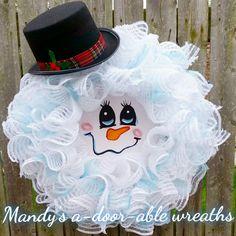 Mr. Frosty, Snowman wreath, Snowman, Christmas wreath, by Mandy's a-door-able wreaths