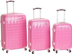 Rockland Luggage 3 Piece Celebrity Hardside Spinner Set Pink - via eBags.com! #PickPink