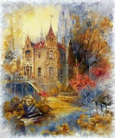 Wall stickers 2017 Needlework diamond painting full round diamond embroidery mosaic Autumn scenery castle Home decor Spirit Art, Glass Castle, Crystal Castle, Autumn Scenery, Tole Painting, Castle Painting, Pictures To Paint, Art Pages, Beautiful Paintings