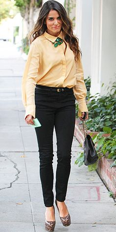 Nikki Reed plays with ways to wear a statement necklace - very of-the-moment under a buttoned-up blouse. http://www.peoplestylewatch.com/people/stylewatch/gallery/0,,20627175,00.html#