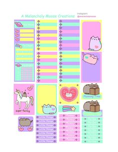 Free Printable unicorn Pusheen Planner Stickers