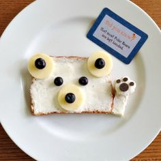 lunchbox love polar bear food art for Polar Bear Food, Polar Bears, Polar Bear Party, Toddler Meals, Kids Meals, Cute Food, Good Food, Funny Food, Baby Food Recipes