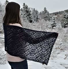 Twisted Threads Shawl is a modern and elegant lace shawl. The lovely lace detail was inspired by Shetland lace and the beauty of woven threads.