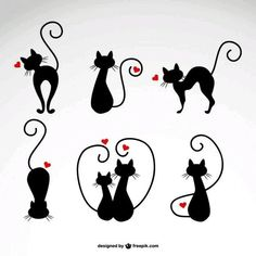 Cats in Love Vector Illustrations - Cricut - Gatos Kitty Tattoos, Cat Drawing, Crazy Cats, Cat Love, Rock Art, Cat Art, Painted Rocks, Silhouettes, Vector Free