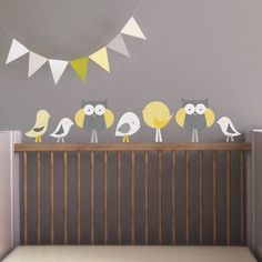 Trendy Peas Birds and Owls Wall Decal Color: Gray / Yellow / White