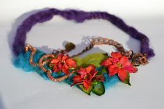 Day and Night - Adjustable One Of A Kind Gift STATEMENT COCKTAIL FLORAL Necklace, Unique Polymer Clay Jewelry with Merinowool Floral Necklace, Flower Earrings, Big Flowers, Polymer Clay Jewelry, Necklace Lengths, Jewelry Art, Jewelry Collection, Clays, Etsy