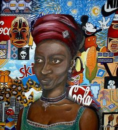 """Transitions by Cherie Roe Dirksen. I chose this based on the reading """"The Maps of Madison High. It speaks of the influences and pressures to become American. African American Artist, American Artists, Black History Month Quotes, Black Art Pictures, South African Artists, Brown Art, Afro Art, Woman Painting, Art Portfolio"""