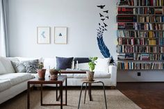 The Bird and the Feather - Wall decals / stickers for magical minds ...  Price : 4.80 EURO ( S&H if applicable) ...This is a feather wall decal / sticker that will be produced as seen on the images... a reality perception metaphor. A beautiful stylized design for your home wall decor.. that re ...