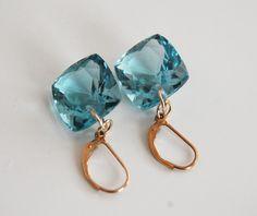 Gorgeous AAA Gem 35ct. Blue Aquamarine Dangle Drop Earrings- Wedding Jewelry- Bridal Jewelry