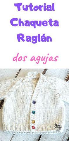 Chaqueta Raglán Cuello V para bebé tejida con agujas rectas - Baby Knitting Patterns, Baby Booties Knitting Pattern, Free Knitting, Brei Baby, Crochet Baby, Knit Crochet, Cardigan Bebe, Baby Shawl, Baby Pullover