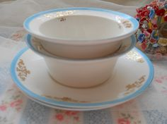 vintage robins egg blue and gold ramekins cups and by polkadotrose, $18.00