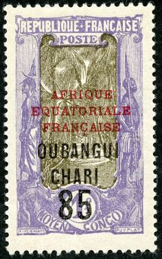 """Ubangi-Chari  1925 Scott 75 85c on 1fr violet & olive """"Coconut Grove"""" Types of 1924 Issue Surcharged with New Value in Black Overprinted in Black, with Additional Overprint in Red"""