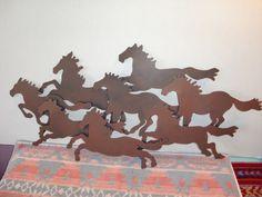 Running Horses Metal Southwestern Wall Decor Indoor Outdoor Art Western Cowboy | eBay