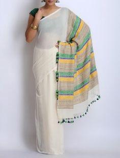 White-Green-Blue Cotton Tassel Handwoven Saree