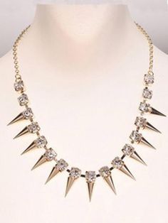 Punk Rivets Rhinestone Embellished Necklace | Persunmall