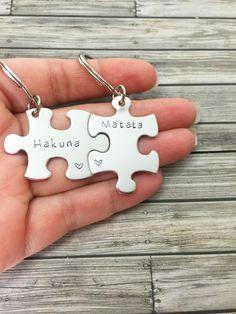 Hakuna Matata Keychain, Couples Keychains, Couples Gift, Puzzle Piece Keychain Set