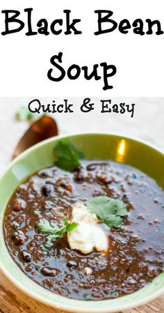 Black bean soup, so quick and easy, dinner in less than 20 minutes! Simply puree the ingredients, heat and eat. Your family will love this satisfying soup. Black Bean Recipes, Bean Soup Recipes, Chicken Soup Recipes, Recipe For Black Bean Soup, Vitamix Soup Recipes, Easy Black Bean Soup, Healthy Recipes, Mexican Food Recipes, Vegetarian Recipes