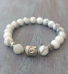 Moon Charm Bracelet, Boho Chic, Howlite Genuine Gemstone, Boho Bracelet, Bohemian Bracelet, Gemstone Bracelet, Moon Jewelry on Etsy