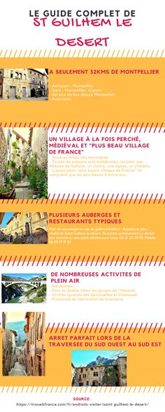 Infographie St Guilhem -  Guide complet du village perché de Saint Guilhem le Desert https://travelsfrance.com/fr/endroits-visiter/saint-guilhem-le-desert/