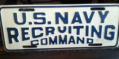 U.S. NAVY RECRUITING COMMAND LICENSE PLATE