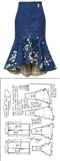 Sewing Skirts Saia Mulet sereia – DIY – molde, corte e costura – Marlene Mukai - Шитье Dress Sewing Patterns, Clothing Patterns, Pattern Sewing, Skirt Patterns, Pattern Drafting, Coat Patterns, Blouse Patterns, Diy Clothing, Sewing Clothes