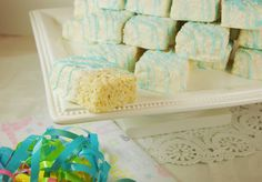 I am making these using pink for my daughter in laws baby shower ❤️❤️❤️❤️.   So cute for girl or boy !!!!The Kitchen is My Playground: Baby Shower White Chocolate-Dipped Rice Krispie Treats
