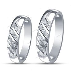Round Cut Simulated Diamond 925 Silver Men's Women's Ring Couple's Wedding Band…
