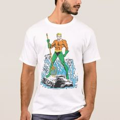 Shop Aquaman Stands with Pitchfork T-Shirt created by justiceleague. Personalize it with photos & text or purchase as is! Superman T Shirt, Aquaman, Dog Bowtie, Cool Shirts, Fitness Models, Mens Fashion, Casual, Sleeves, Cotton