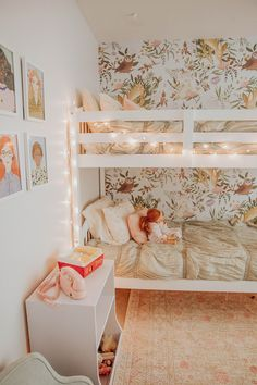 A Christmastime Home Tour. A Christmastime Home Tour. Bunk Beds For Girls Room, Bunk Bed Rooms, Little Girl Rooms, Kids Room For Girls, Girls Bedroom Ideas Ikea, 3 Kids Bedroom, Bunk Bed Decor, House Beds For Kids, Room Kids