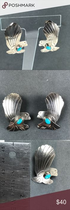 Vtg Sterling Silver Turquoise Eagle Bird earrings Fun eagle earrings Turquoise Gemstone Sterling silver. Not marked. Tested positive for Sterling No maker mark Measure approximately 1 1/4 inches in length From a pet and smoke free location   Box 2 Vintage Jewelry Earrings