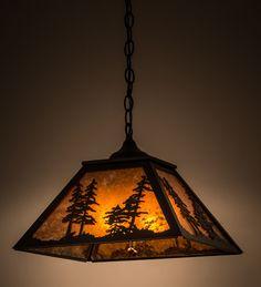 "16""Sq Rustic Lodge Tall Pines Pendant"