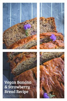 If you're looking for a dairy-free & eggless banana strawberry bread recipe, then this is it! This aromatic sweet bread cake has the perfect texture & taste. #bananabread #strawberrybread #banana #strawberry #easy #moist #simple #vegan #noeggs #sweetbread #bake #nobutter #homemade #eggless #wholewheat