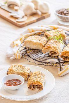 Vegetarian Sausage Rolls with mushrooms & lentils