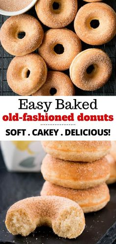 These homemade old-fashioned donuts are soft and cakey with a hint of nutmeg on the inside and finished with a crunchy cinnamon-sugar coating. This easy baked version of a classic favorite is a healthier and simpler recipe to make. Homemade Baked Donuts, Baked Doughnut Recipes, Easy Donut Recipe, Classic Donut Recipe, Baked Doughnuts, Sweet Recipes, Nutmeg Recipes Food, Easy Baking Recipes, Baking Recipes