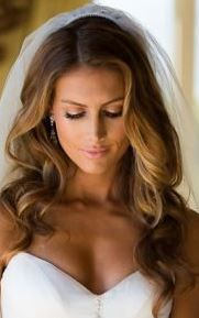 ❤ bridal hair down with veil