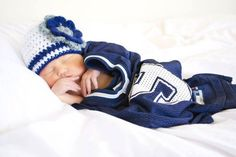 Football  NAVY Blue hat with white Flower size 12-24 months 19 Houston Texans and Dallas Cowboys inspired  Crochet