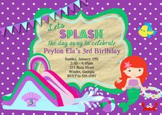 Ariel Waterslide Birthday Invitation by graciegirldesigns77
