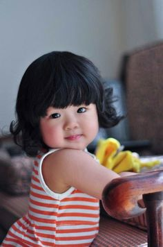 Beautiful little dark-haired toddler!