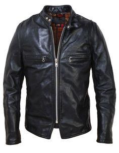 Men's Vintaged Steerhide Leather Cafe Racer Motorcycle Jacket CAF1 by Schott NYC.