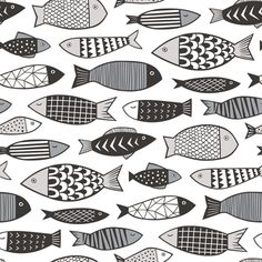 Fishes Fabric - Fish Geometric Black white Grey By Caja Design - Fishes Cotton Fabric By The Metre by Spoonflower Fabric Fish, Blue Fabric, Flowers Wallpaper, Fabric Wallpaper, Linocut Prints, Art Prints, Poster Photo, Fish Drawings, Fish Patterns