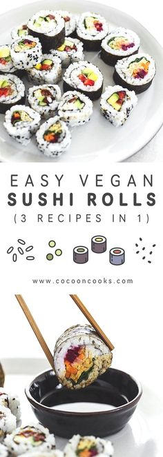 Easy Vegan Sushi Rolls recipes in — Cocoon Cooks - Vegane rezepte Sushi Vegan, Vegan Sushi Rolls, Sushi Roll Recipes, Sushi Sushi, Vegan Foods, Vegan Snacks, Kinds Of Sushi, Sushi At Home, Vegetarian Recipes