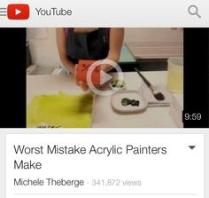 The Worst Mistake Acrylic Painters Make - overthinning your paint with water instead of an acrylic medium - the 30% rule. Excellent video and important info!