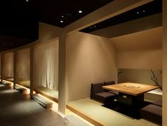 Japanese Restaurant Interior, Chinese Interior, Japanese Interior Design, Wood Interior Design, Restaurant Interior Design, Cafe Interior, Japanese Design, Restaurant Booth Seating, Terrace Restaurant